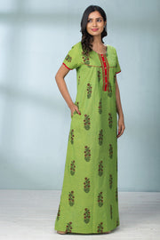 Abstract Plant Motif Nightwear - Green - Maybell Womens Fashion