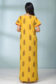 Abstract Plant Motif Nightwear - Yellow - Maybell Womens Fashion