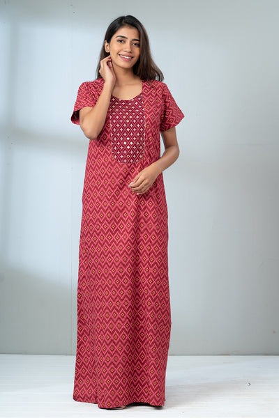 Geometric Zigzag Printed Nightwear - Red