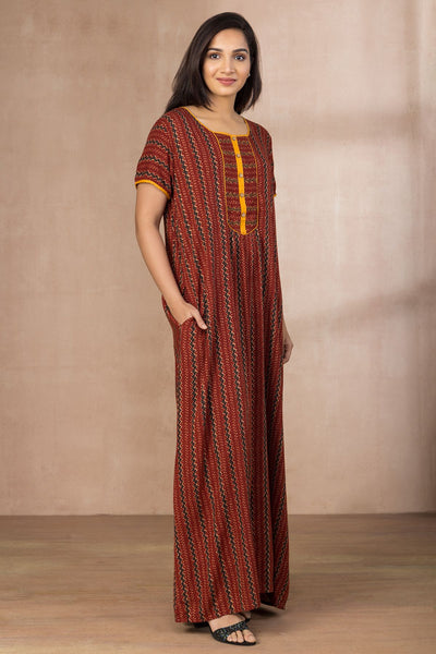 Printed Nightwear - maroon - Maybell Womens Fashion