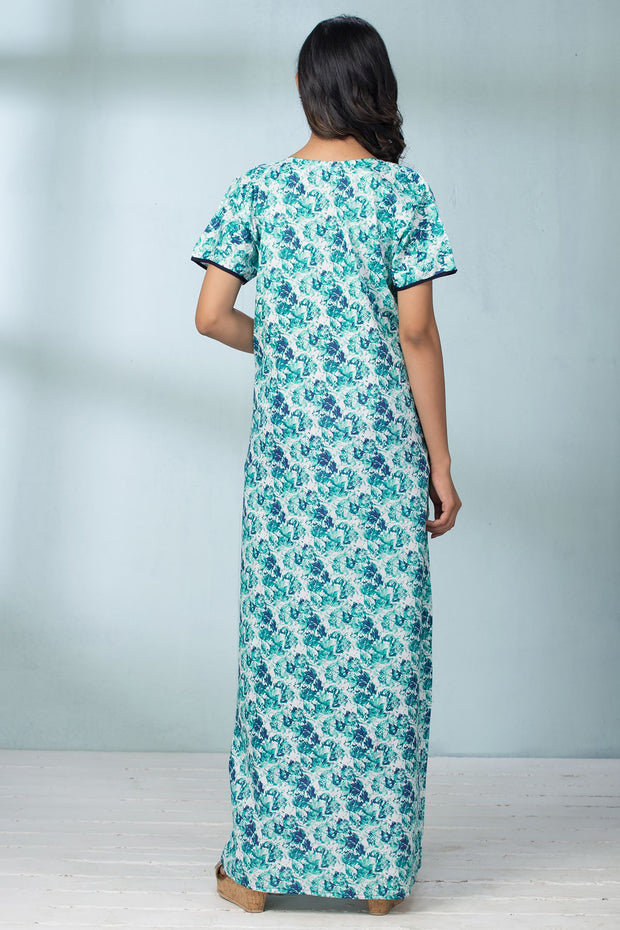 Abstract Leaf Print Nightwear - Green - Maybell Womens Fashion