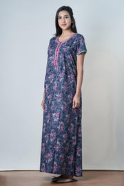 Blue Clustered floral Printed Nightwear – Pink accent - Maybell Womens Fashion