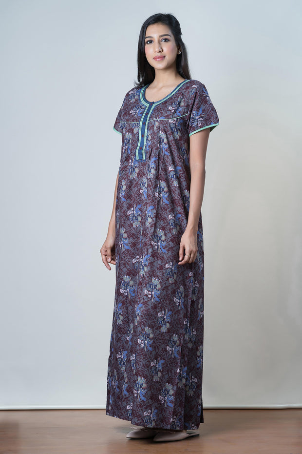 Brown Clustered floral Printed Nightwear – Blue accent - Maybell Womens Fashion