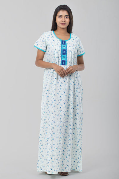 Cotton Embroidered Nightwear-Blue - Maybell Womens Fashion