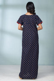 Geometric Print Pocket Nightwear - Navy Blue - Maybell Womens Fashion