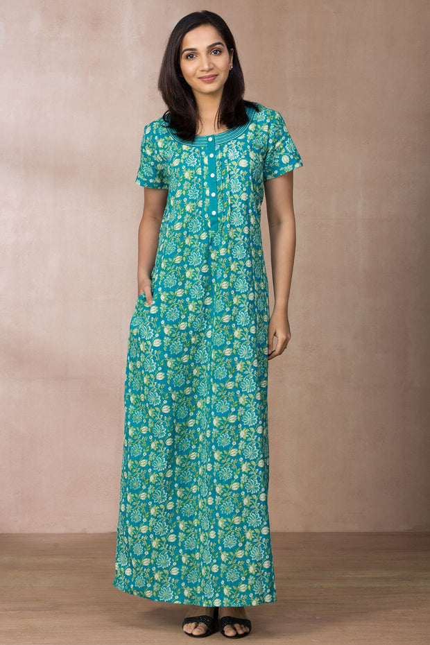Floral Printed Nightwear – Green - Maybell Womens Fashion
