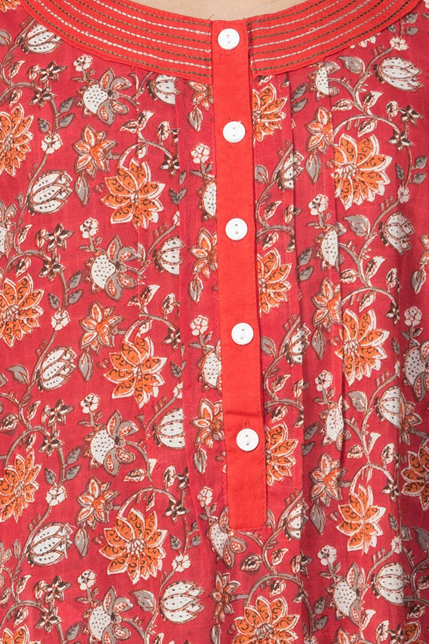Floral Printed Nightwear – Red - Maybell Womens Fashion