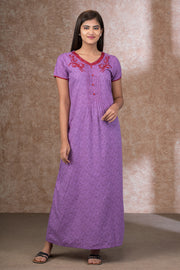 All over scattered leaf printed nightwear - Purple