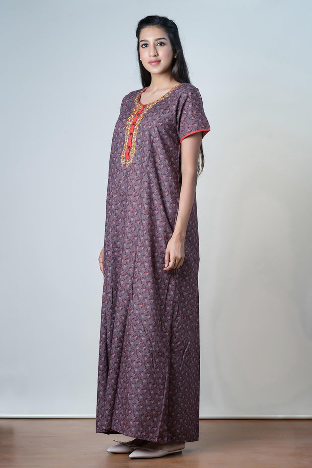 Scattered floral Printed Nightwear  - Maroon - Maybell Womens Fashion