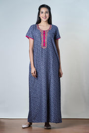 Scattered floral Printed Nightwear  - Navy Blue - Maybell Womens Fashion