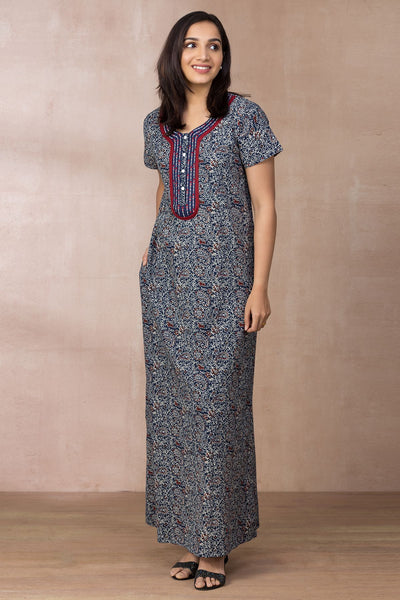 Embroidered Nightwear – Navy - Maybell Womens Fashion