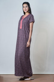 Abstract paisley Printed Nightwear – Maroon - Maybell Womens Fashion