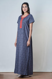 Abstract paisley Printed Nightwear – Navy - Maybell Womens Fashion