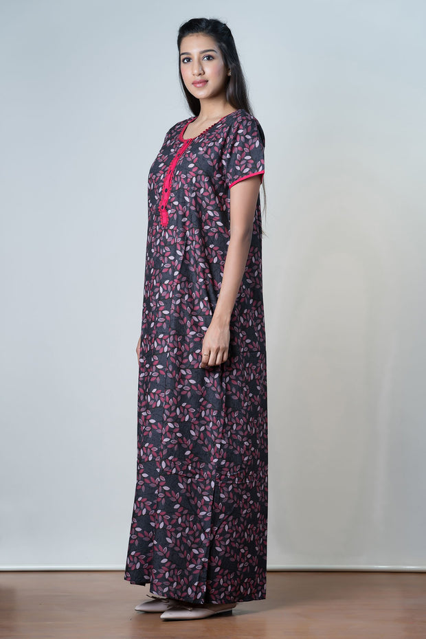 Black Scattered leaf Printed Nightwear – Pink Accent - Maybell Womens Fashion