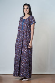 Brown Scattered leaf Printed Nightwear – Blue Accent - Maybell Womens Fashion