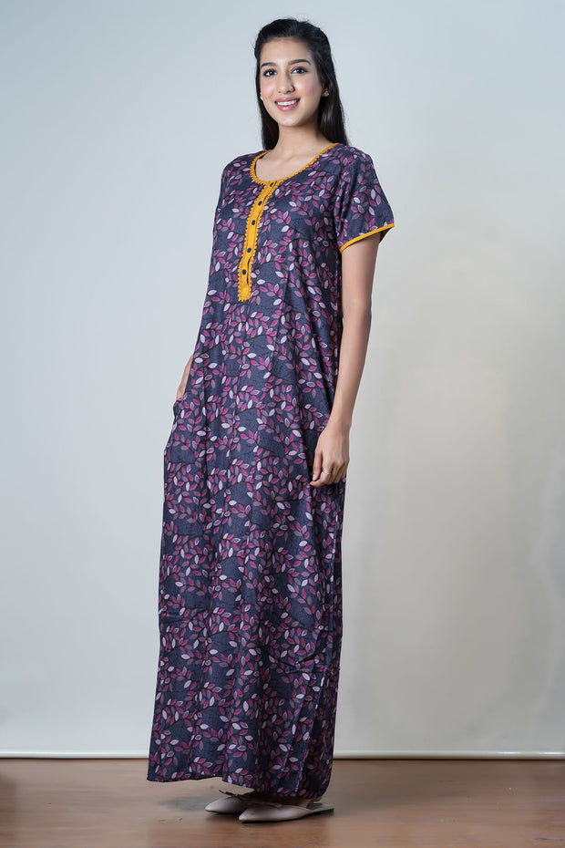 Navy Scattered leaf Printed Nightwear – Yellow Accent - Maybell Womens Fashion