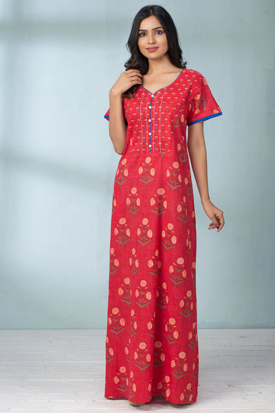 Floral Print Pocket Nightwear - Red - Maybell Womens Fashion