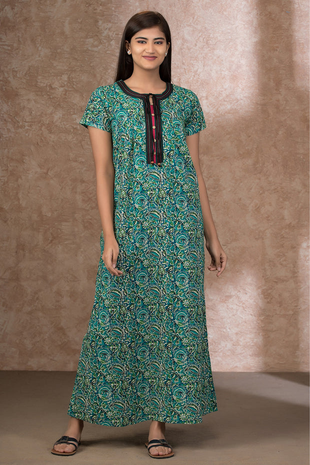 All Over Kalamkari Printed Nightwear – Green
