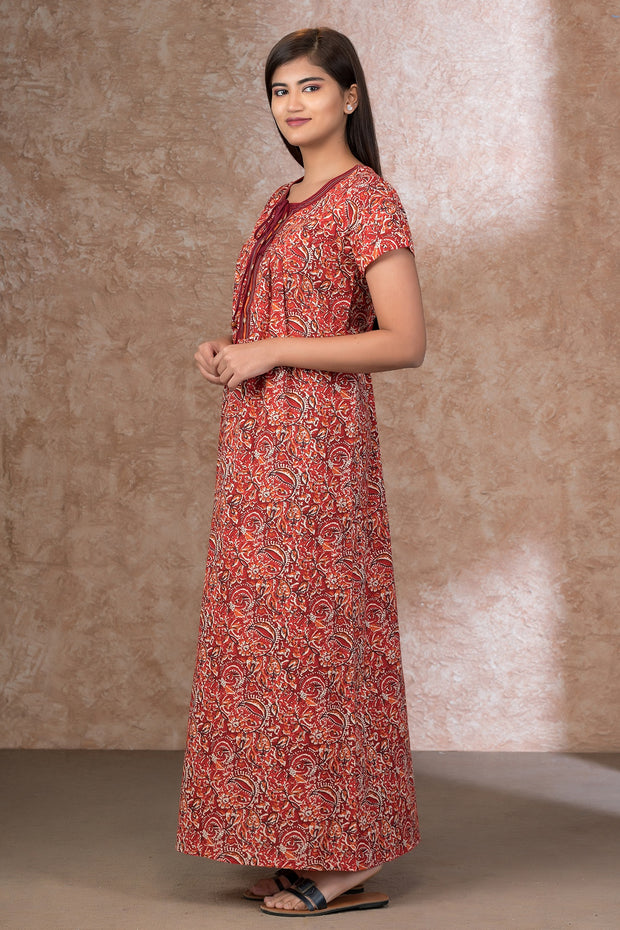All Over Kalamkari Printed Nightwear – Red