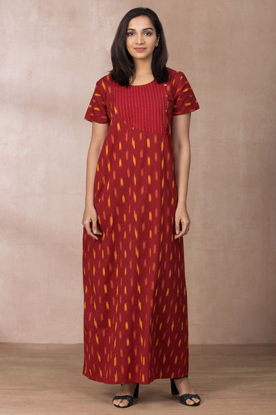 Elegant Printed Nightwear - Red - Maybell Womens Fashion