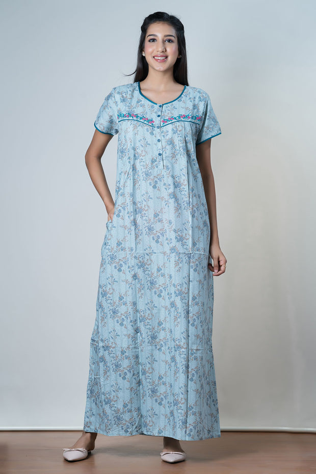 Clustered floral Printed Nightwear – Blue - Maybell Womens Fashion