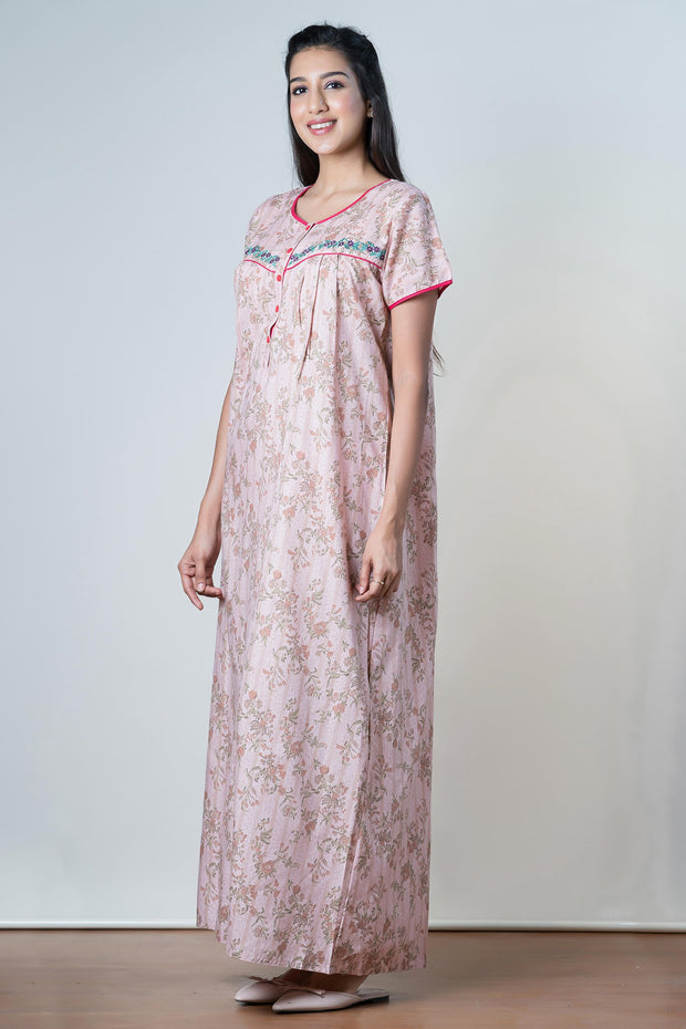 Clustered floral Printed Nightwear – Pink - Maybell Womens Fashion