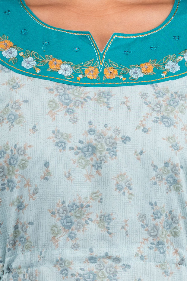 Ditsy Floral Printed Tie Up  Nighty - Blue