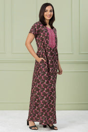 Floral Printed & Embroidered Nightwear – Brown - Maybell Womens Fashion