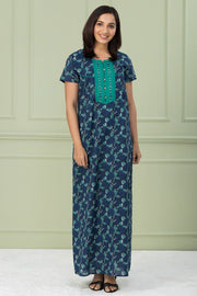 Floral Printed & Embroidered Nightwear – Green - Maybell Womens Fashion