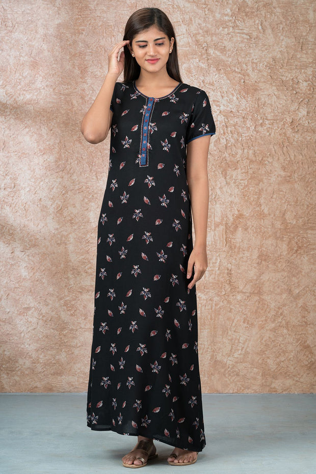 Western Floral Printed Nighty - Black