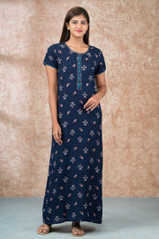 Western Floral Printed Nighty - Navy Blue
