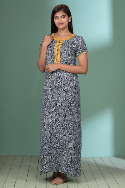 All over printed nightwear – Grey with yellow accent