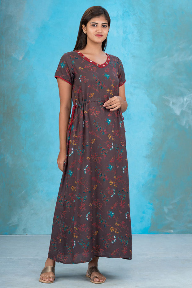 Ditsy Floral Printed  Waist Tie Up Nighty - Brown