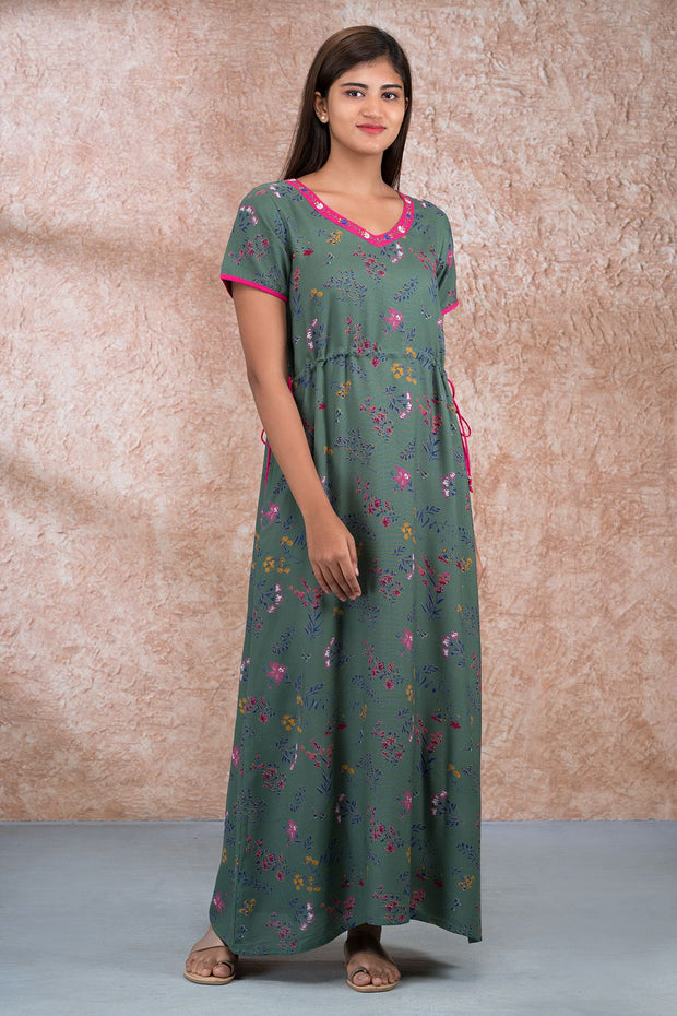 Ditsy Floral Printed  Waist Tie Up Nighty - Green