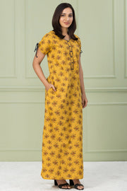 Floral Printed Nightwear – Yellow - Maybell Womens Fashion