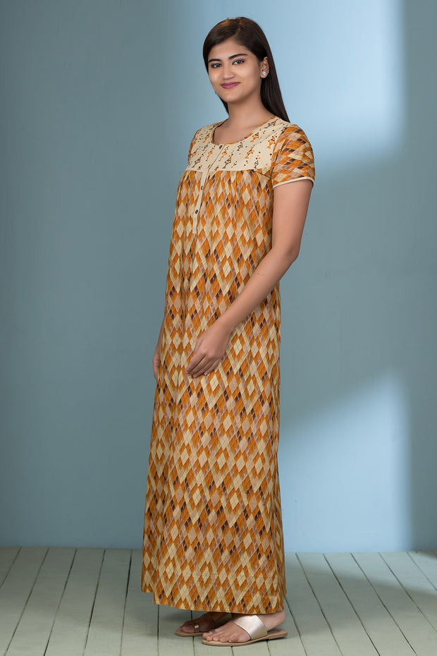 All Over Geometric Printed Nightwear – Yellow