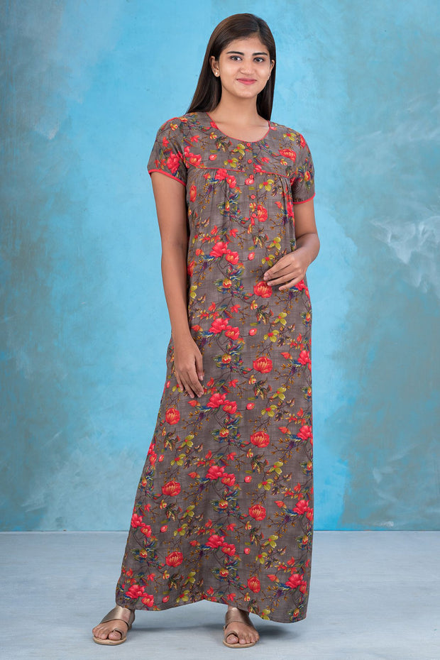 All Over Impressionist Floral Printed Nighty - Mustard