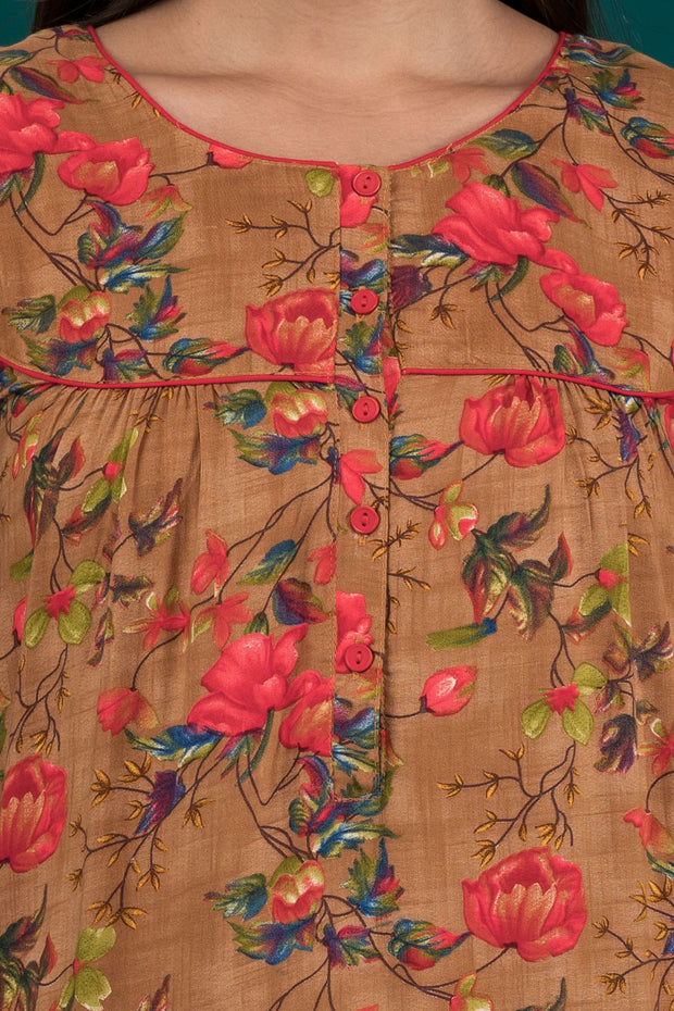 All Over Impressionist Floral Printed Nighty - Brown