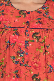 All Over Impressionist Floral Printed Nighty- Peach