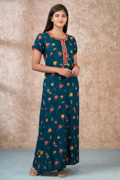 Autumn Floral Printed Nighty - Teal Blue