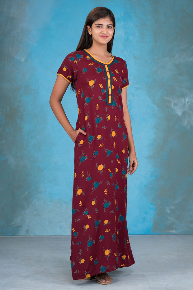 Autumn Floral Printed Nighty - Maroon