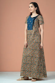 All Over Geometric Kalamkari Printed With Embroidery Nighty Wear - Green