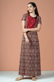 All Over Geometric Kalamkari Printed With Embroidery Nighty Wear - Maroon