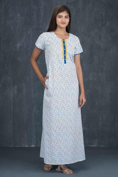 Ditsy Floral Printed Nighty - Blue