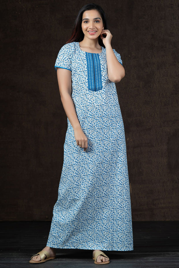 All Over Ditsy Floral Printed Nighty Wear - Blue