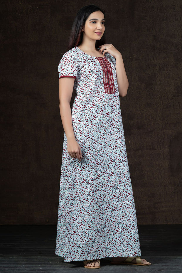 All over Ditsy Floral Printed Nighty Wear - Maroon