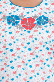 Ditsy Floral Printed Nighty - White & Blue