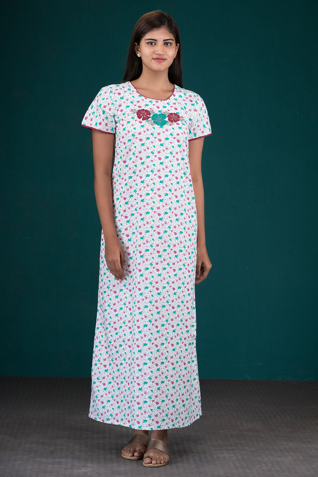 Ditsy Floral Printed Nighty - White & Green