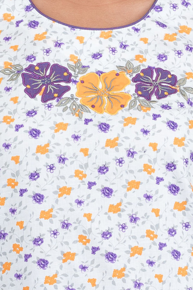 Ditsy Floral Printed Nighty - White & Violet