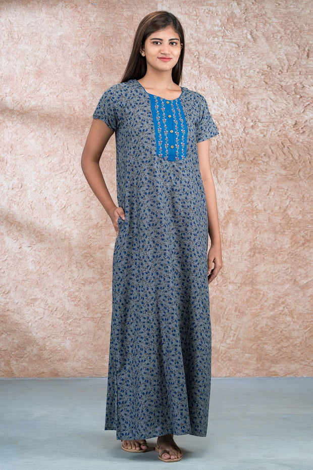 All Over Abstract Floral Printed And Embroidered Nighty - Blue